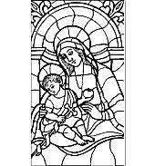 Üvegmatrica minta : Mária és Jézus/Szentcsalád, Tiffany, Vallás