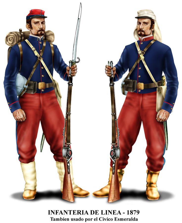 """uniforme de paño de tropas de línea en 1879. También el Santiago y Esmeralda usaban este uniforme. Las polainas marcan al 2º de Línea, y en libros peruanos los llaman """"zuavos"""". Otro detalle que marca los uniformes de 1879 son las chaquetas cortas"""