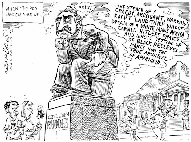 Zapiro - Cecil John Rhodes Statue pelted with Excrement at UCT published in Mail & Guardian on 20 Mar 2015