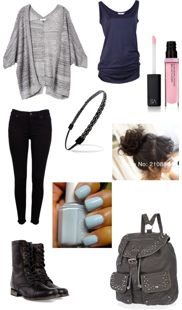 I would wear this. my type of style and everything. I just would do my hair style and make up differently, and just use my regular school bag.