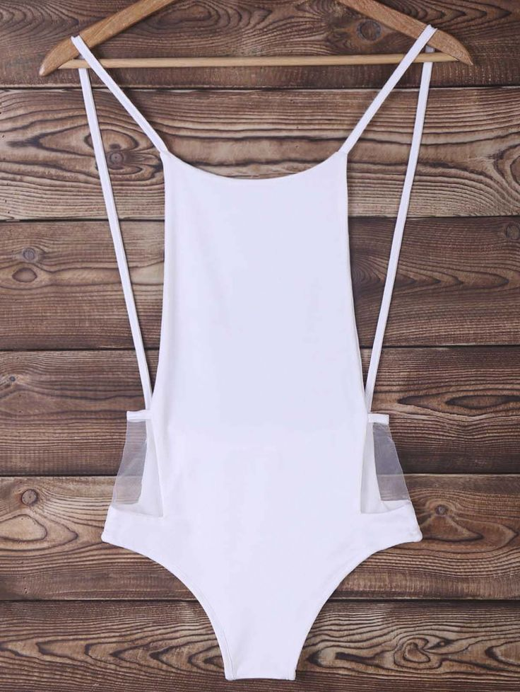 Fashionable Women's Spaghetti Strap Pure Color Cut Out One Piece Swimwear