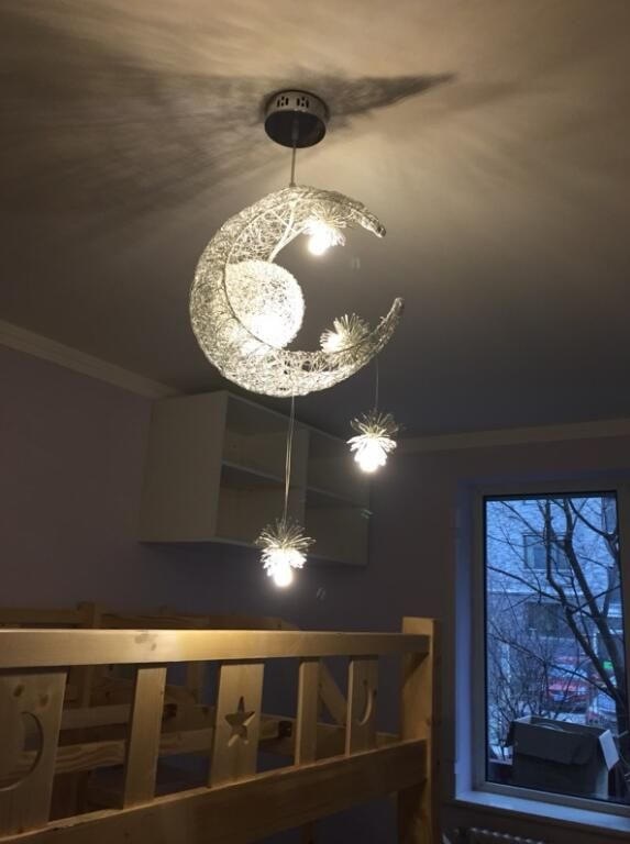 Moon Star Ceiling Light Hanging Lights For Bedroom Kids Room With 5 Lights Star Lights On Ceiling Ceiling Lights Modern Ceiling Light