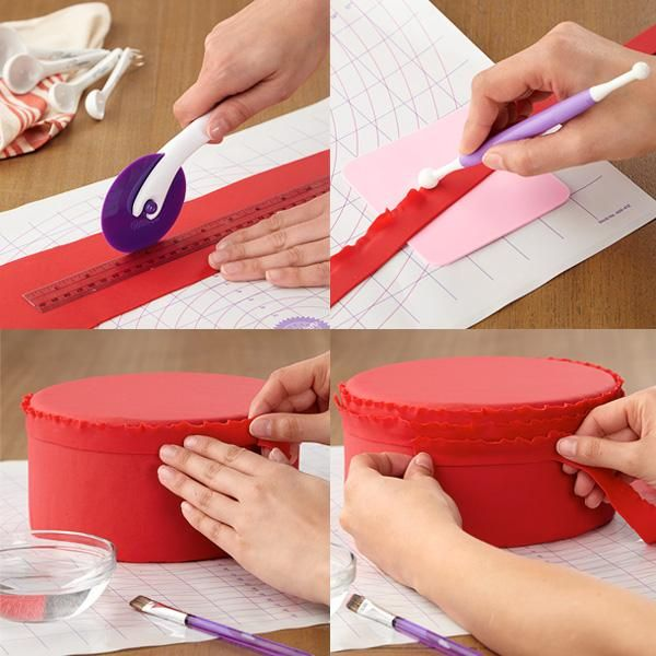 Cake Decorating Ribbon Ideas : Tutorial - Red Ruffled Ribbons Fondant Cake Cake Design Tools & Tricks Pinterest Fondant ...