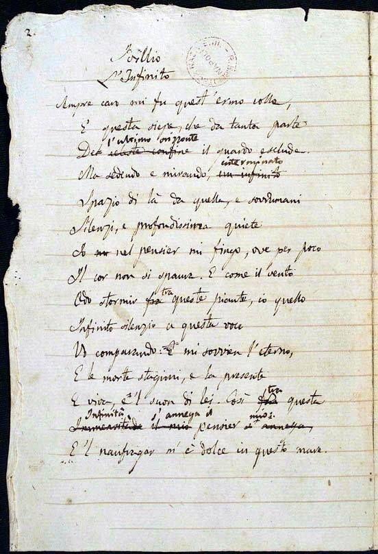 manoscritto originale de L'Infinito di Giacomo Leopardi conservato a Napoli (1818-19)