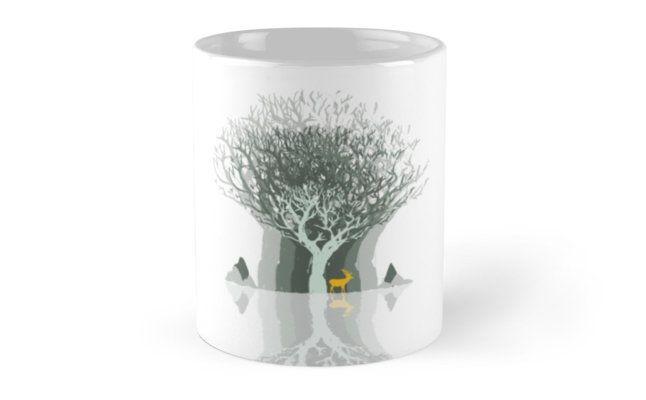 """Frozen Reflection - Daylight"" Mugs by jollybirddesign   Redbubble #frozen #reflection #tree #stag #illustration #white #mug"