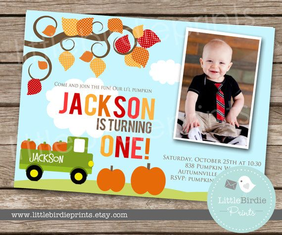 PUMPKIN INVITATION Birthday Party - TRUCK for BoY - Printable Invite - Harvest Truck Autumn Fall Birthday Party Printable with photo