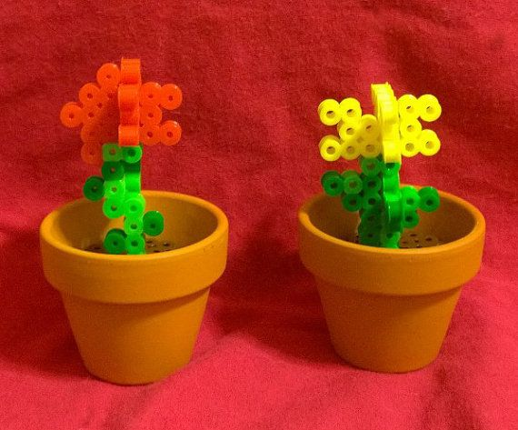 One 3D Minecraft Inspired Rose/Flower in Pot Made of by BraveDeity, $8.00