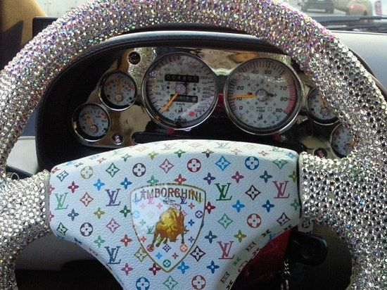 I totally love this! Its so tacky, but I so LOVE it and would do this to my steering wheel in a heartbeat! lol