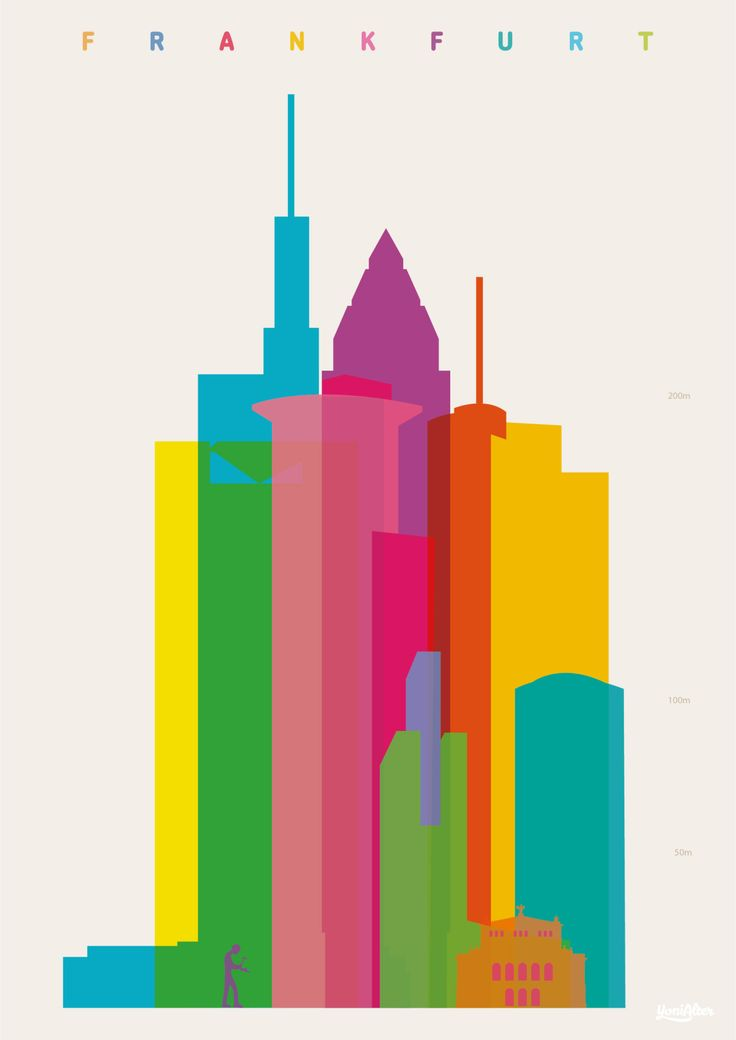 Shapes of Frankfurt. Commerzbank Tower, Trianon, Westendstrasse 1, Hammering Man sculpture, Westendstrasse 1, MesseTurm, Messe Torhaus, Main Tower, Alte Oper, Westhafen Tower. Accurate to...