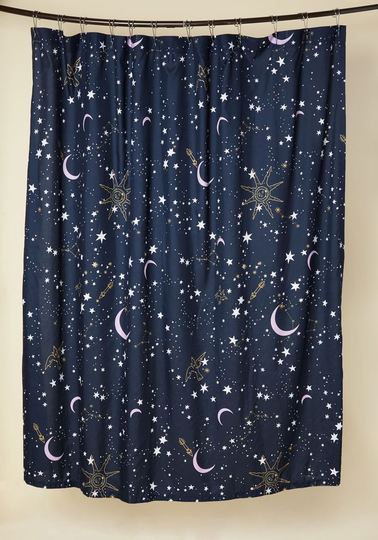 Star-Crossed Covers Shower Curtain | Mod Retro Vintage Bath | ModCloth.com  Hang this stellar shower curtain from your tub rod before drawing yourself a blissful bath. Decorated with white stars and golden constellations against a midnight blue sky, this ModCloth-exclusive curtain was fated to be with your starry-eyed daydreams!