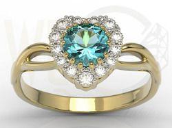 Pierścionek w kształcie serca z żółtego złota z topazem i cyrkoniami / Heart-shapped ring made from yellow gold with topaz and zircons / 1 093 PLN / #jewellery #ring #pierscionek #serce #heart #topaz #zircons