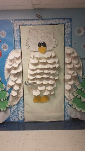 Snow Owl classroom door...use different colors for a different type of bird