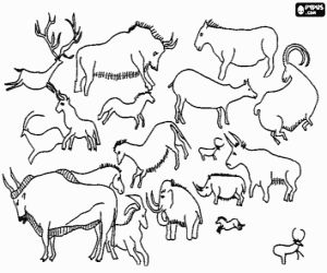 Rock paintings representing the animals they hunted coloring page