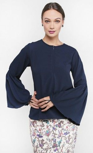 Calyx Blouse in Navy Blue