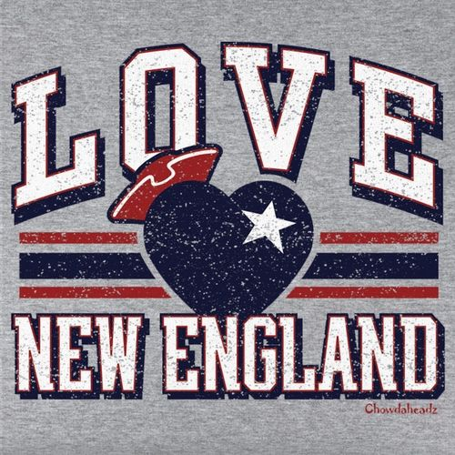 Love New England T-Shirt from Chowdaheadz. Available in crew, long sleeve & v-neck!