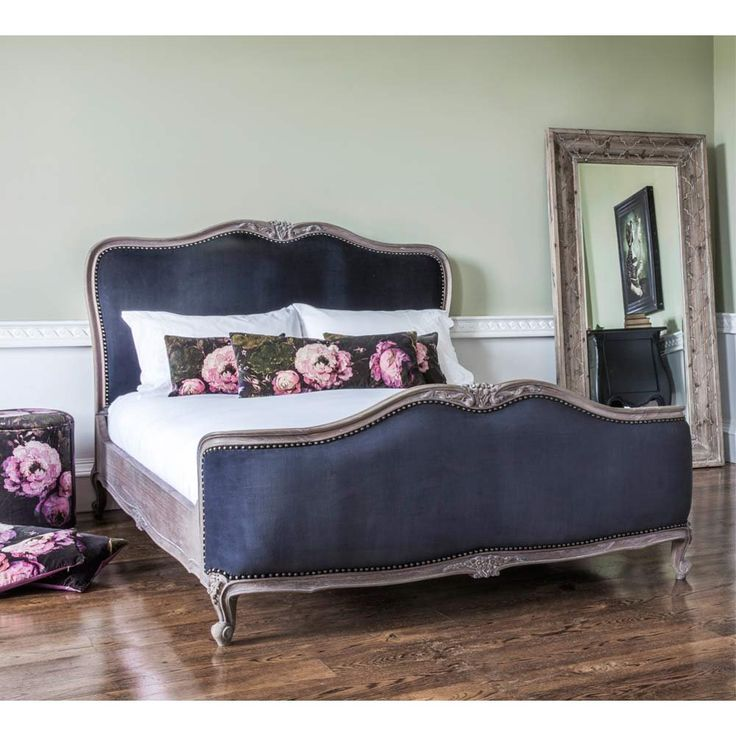 Montmartre Black Velvet Bed | French Bedroom Company. Romantic black velvet French bed. #manchesterwarehouse