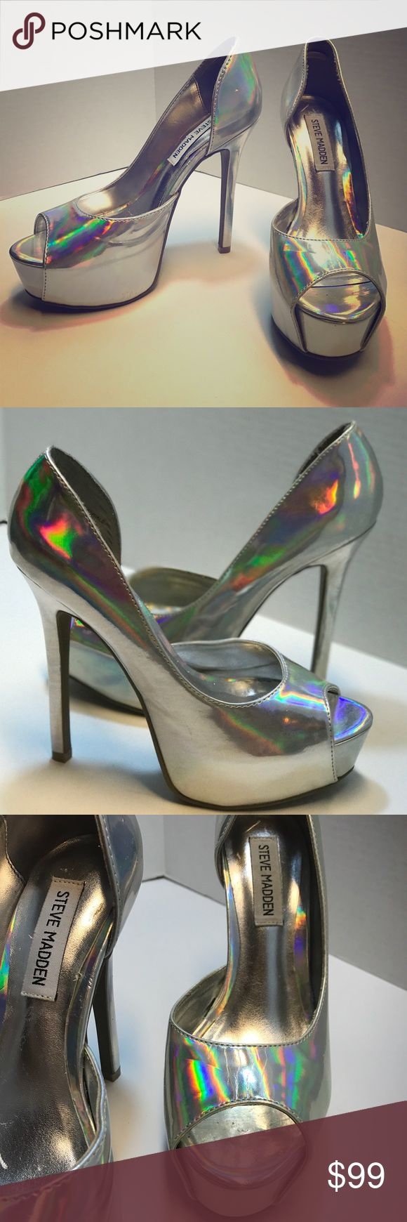 Steve Madden Holographic Open Toe Pumps Steve Madden Platform Holographic Open Toe Pumps! Store display bought as is. There is some minors marks on the outside, but not very noticeable because of the holographic material. Never been worn outside of store, only been tried on and used for display in store. Wonderful for photo shoots or special events!!! Super cute! Steve Madden Shoes Heels