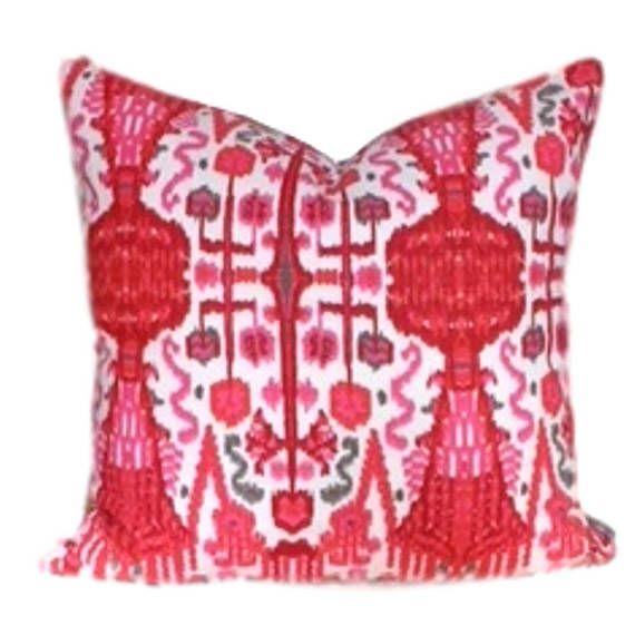 Cerise Ikat Pillow Cover