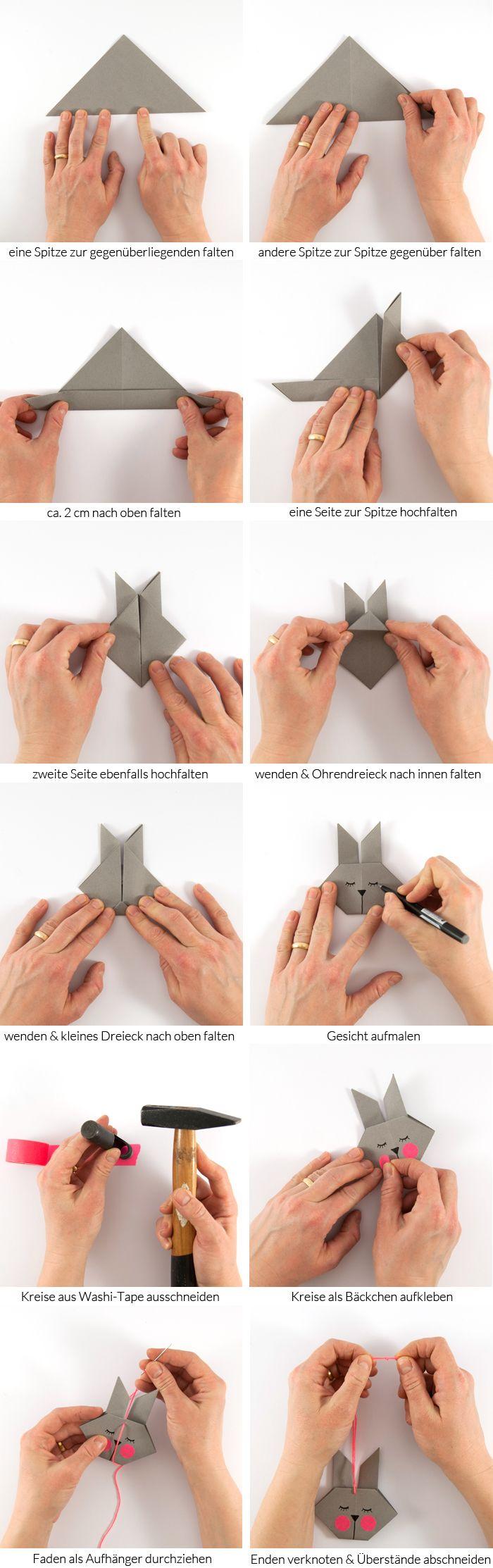 DIY Origami Osterhasen – als Anhänger oder Grusskarte
