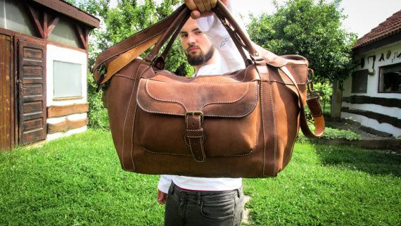 Handmade Leather Travel Bag / Matte Leather Duffle Bag / Leather Overnight Bag / Leather Travel Bags For Men / Brown Leather Duffle Bag #transylvanianmonk #overnightbag #weekenderbag #leatherbag #travelbag #handmade #leatherbags