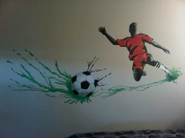 Kids Bedroom mural. Soccer player and soccer ball. Painting in acrylic  http://www.artbyauburn.com