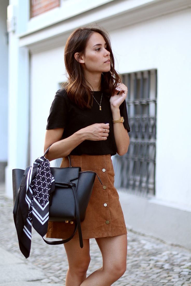 scarf with leather bag and casual outfit