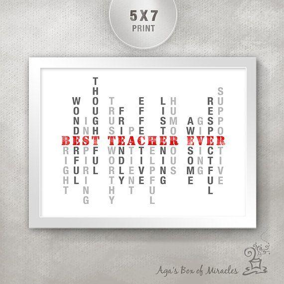 best teacher ever 5 215 7 inspirational print inspirational typography print unique teacher