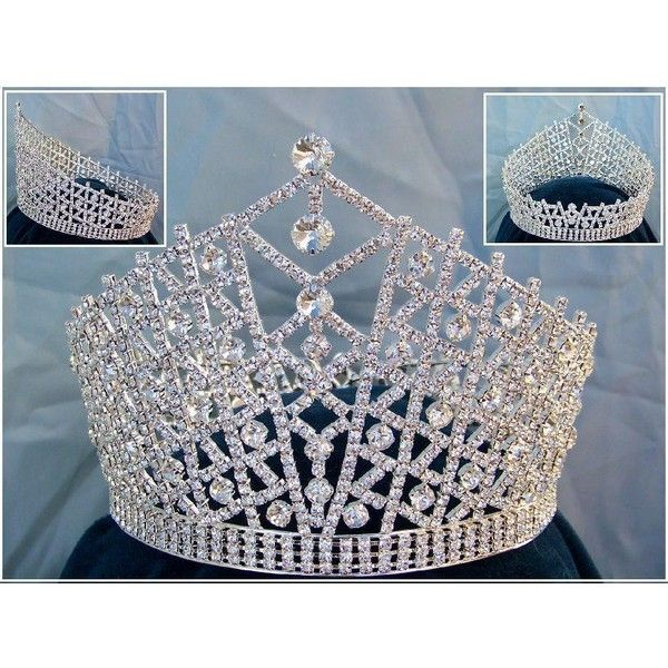 Miss Beauty Pageant Queen rhinestone Sillver Full Crown Tiara (£150) ❤ liked on Polyvore featuring accessories, hair accessories, tiara crown, rhinestone hair accessories, rhinestone tiara, crown tiara and rhinestone crown