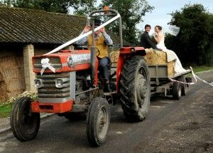 Cropped wedding tractor