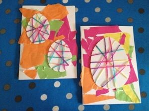Easter Egg and yarn Easter Cards.  Visit pinterest.com/arktherapeutic for more #kidcrafts