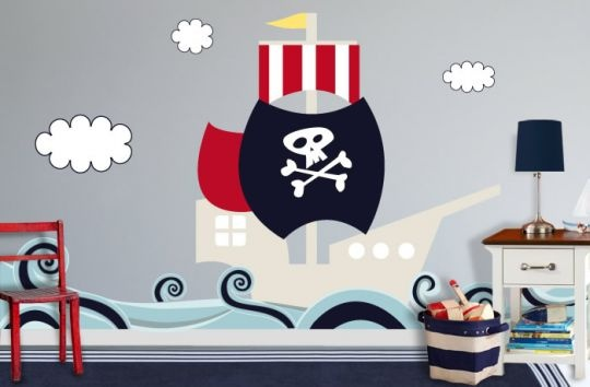 Color me wall pirate ship wall decal for kids rooms for Sticker habitacion infantil