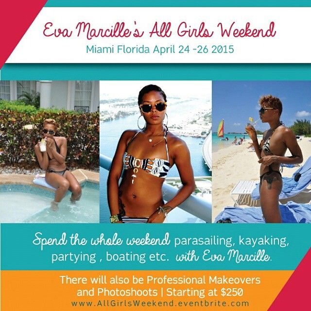 Spend the whole weekend of April 24th - 26th with me in Miami. Follow @AllGirlsWeekend for information and updates. Only 35 spots available - Register now to lock in your spot on www.AllGirlsWeekend.eventbrite.com . See you in Miami!!