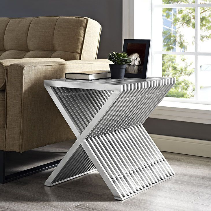 Press Stainless Steel Side Table, Silver - Progress forward with the charged Press side table. Bolstered by a series of brushed aluminum segments, Press displays a mode of strategic progress amidst minimalist elements. Pleasing to the eye and resounding to your decor, keep your sights high while staying fully charged at all times. Perfect for contemporary living rooms and lounge spaces. Set Includes: 1 - Press Side Table. Material: 30*15*1.2mm 201 brushed stainless steel tube ,black…