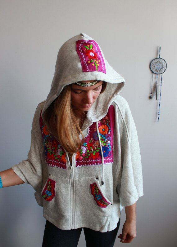 Magenta/Oatmeal Mexican Embroidered Hippie by MountainGirlClothing
