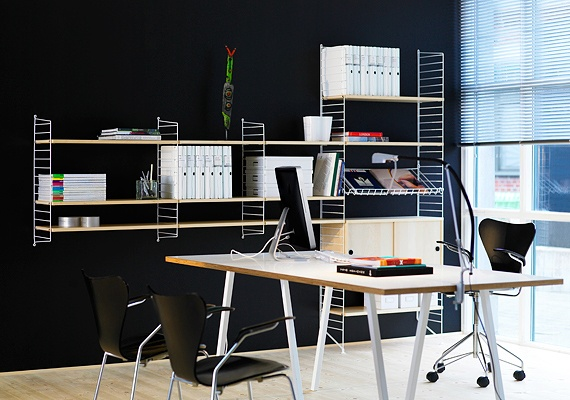 string® system - shelves and cabinet in birch, wall- and floor panels in white, magazine shelf in white