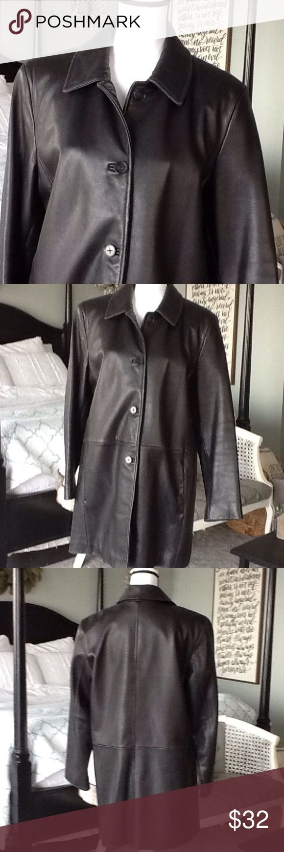 Lambskin leather jacket Really, really soft leather! Figure flattering with dropped waistline. Good used condition, except for slight wear on collar tips, sleeve bottoms and hem. Worthington Jackets & Coats