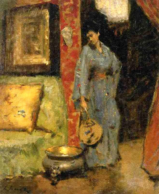 William Merritt Chase - Woman in Kimono Holding a Japanese Fan, late 19th c.
