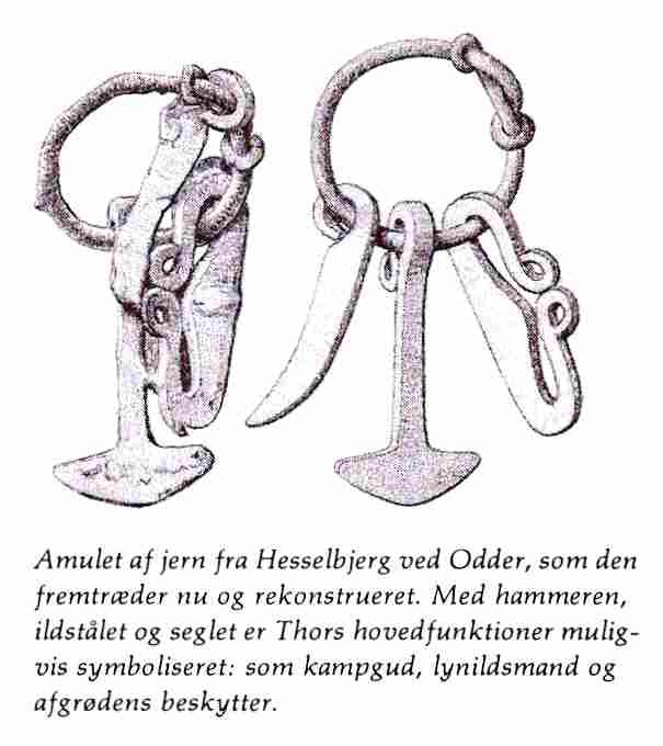 "An Iron age amulet. The text reads: ""Amulet made of iron from Hesselbjerg near Odder, like it looks now and reconstructed. With the hammer, the fire steel and the schyte, the main functions of Thor are probably symbolized: As a god of war, man of lightning and patron of the growing fields"". I must say my Danish isn't the best, so there might be some small error(s) thrown in there. ;) You can expect us to make replicas of these amulets (and others) available for purchase as we get our ..."