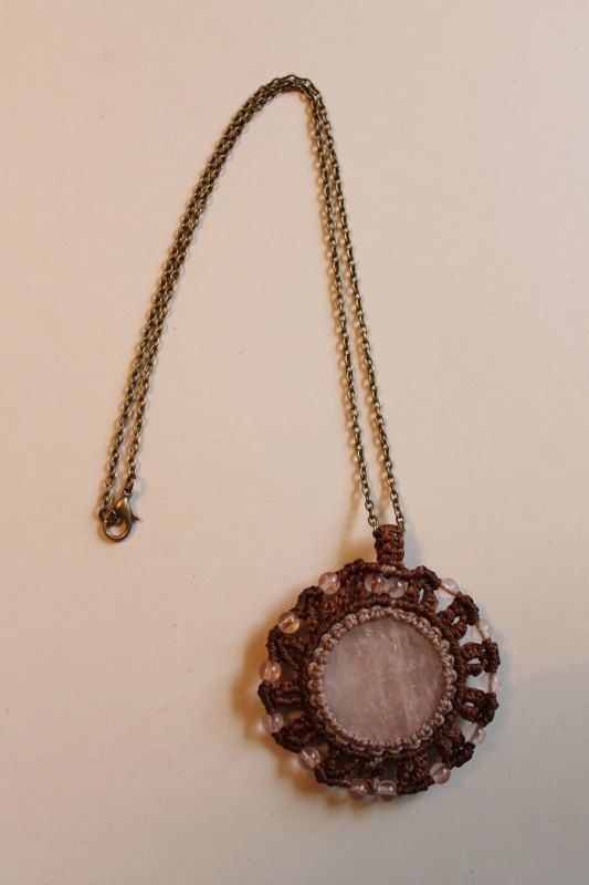Macrame quartz pendant in antique bronze chain by SuryaSoul on Etsy