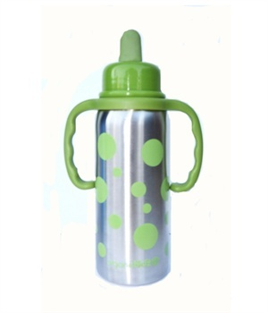 Stainless Steel Baby Bottles Convertible to Sippy Cups. Photo and item from organickidz.ca