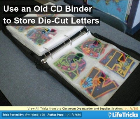 Use an old CD binder to store die-cut letters.