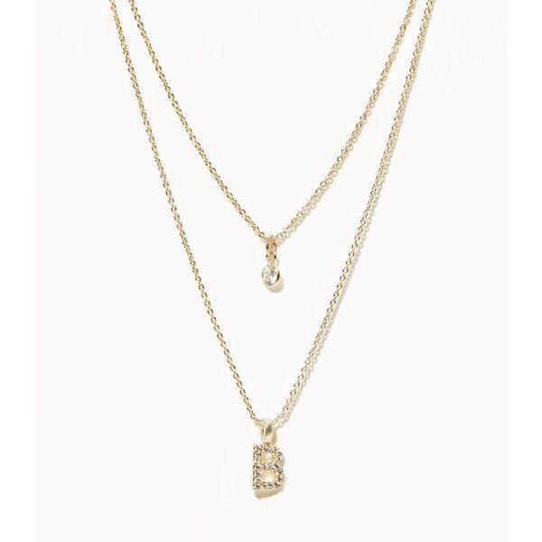 LOFT Layered Pave Initial Necklace ($30) ❤ liked on Polyvore featuring jewelry, necklaces, b, initial charms, double layer necklace, letter charms, initial charm necklace and letter jewelry
