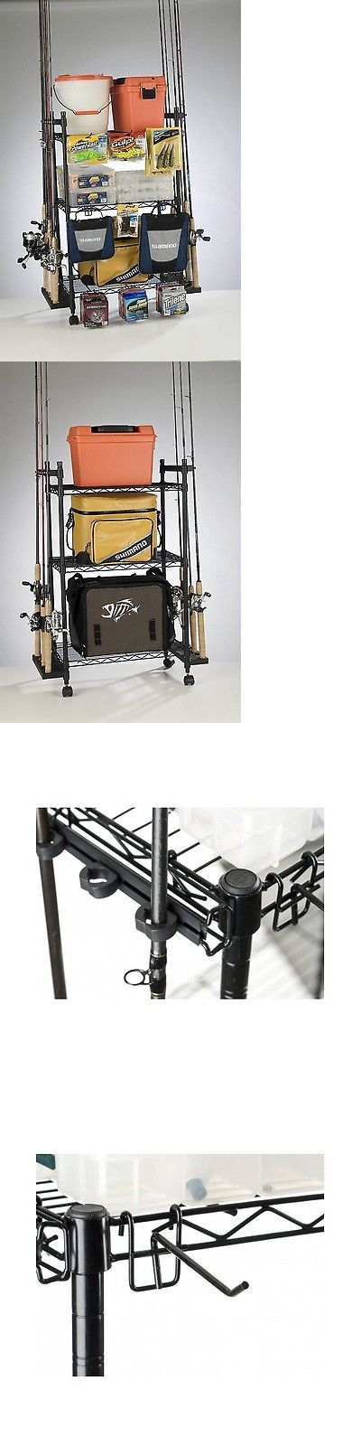 Rod Cases Tubes and Racks 81473: Fishing Rod Rack Pole Holder Reel Tackle Box Storage Shelves Garage Cart Wheels BUY IT NOW ONLY: $69.73