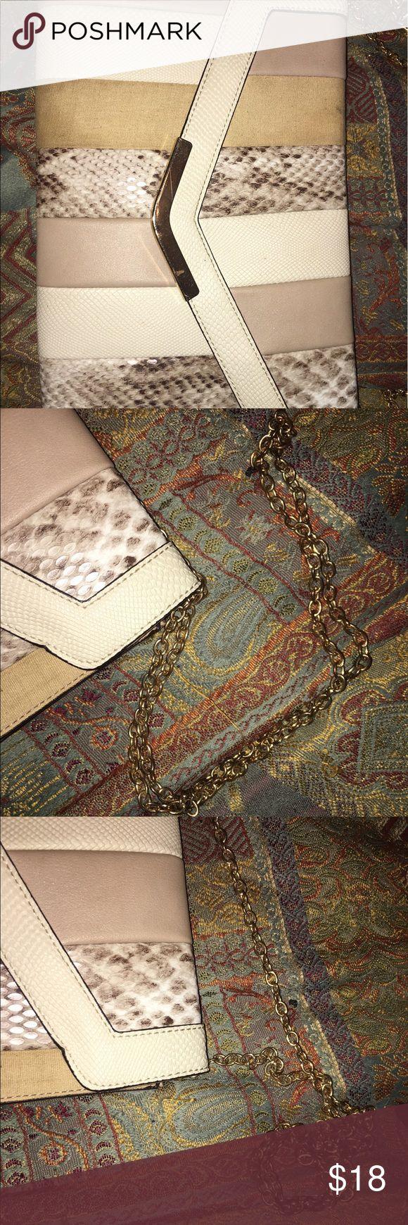 Stylish Beige Clutch w/ Chain Clutch from Aldo / No Damage / Worn Occasionally / Marks in Inside Of Bag / Aldo Bags Clutches & Wristlets