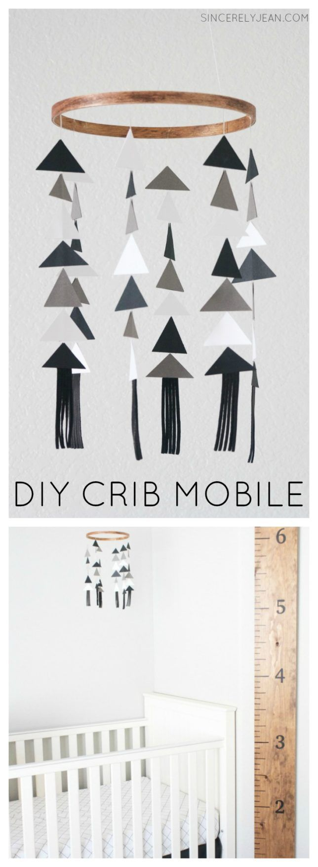 DIY Crib Mobile - Learn how to make this adorable triangle crib mobile with our easy tutorial! | www.SincerelyJean.com
