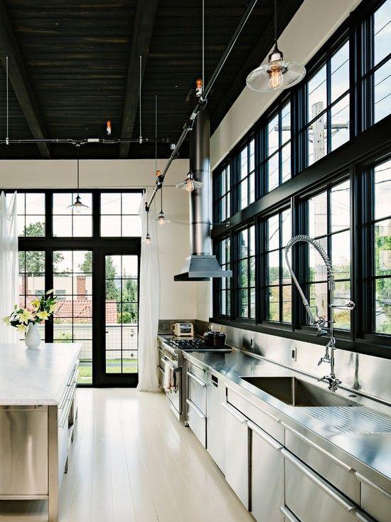 Black window - Interiors By Studio M. Stainless Steel | Kitchen Ideas | Black Paint | Design Trend | Window Trim | Home Improvement