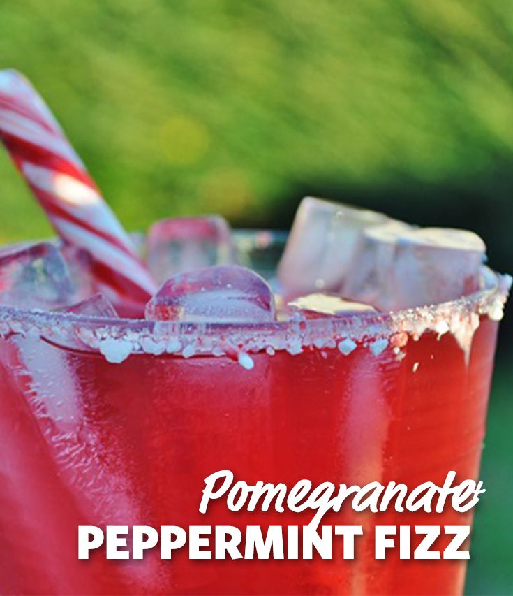 Pomegranate Pepeprmint Ginger Fizz with Peppermint Sugar Rim: Possibly the most refreshing of holiday punches, thanks to a hint of mint in every sip from the peppermint rimmed glass, this alcohol free cocktail both quenches your thirst and calms your sweet tooth. #Drinks