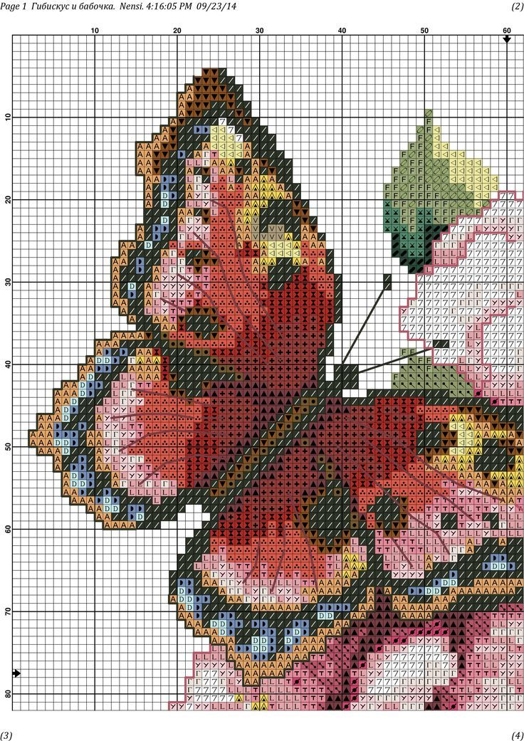 butterfly with pink flowers 2 3/5
