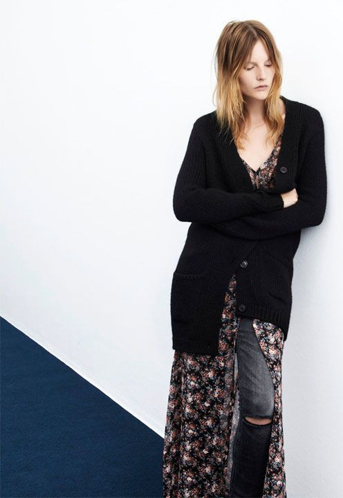 floral dress with cardi and denim