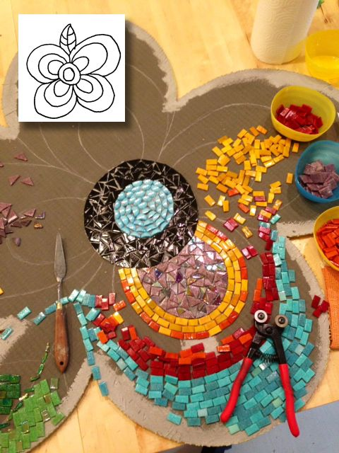 Mosaic Garden Transformation: from line drawing to mosaic masterpiece, as part of Alberta Culture Days 2013